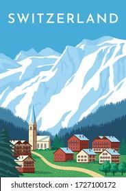 Switzerland travel retro poster, nature vintage banner. Summer Alps landscape, mountain Austria village. Hand drawing flat vector illustration.
