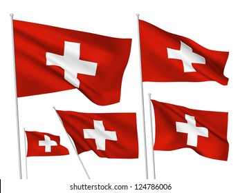 Switzerland vector flags set. 5 wavy 3D cloth pennants fluttering on the wind. EPS 8 created using gradient meshes isolated on white background. Five flagstaff design elements from world collection