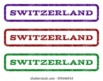 Switzerland watermark stamp. Text caption inside rounded rectangle with grunge design style. Vector variants are indigo blue, red, green ink colors. Rubber seal stamp with dirty texture.