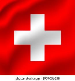 Switzerland waving flag vector editable