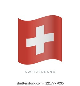 Switzerland waving flag vector icon. National symbol of Switzerland. Vector illustration isolated on white.