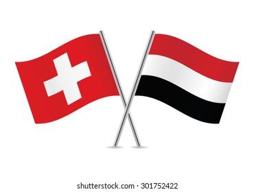 Switzerland and Yemen flags. Vector illustration.