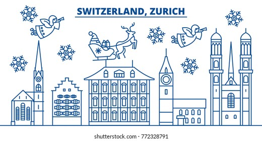 Switzerland, Zurich winter city skyline. Merry Christmas, Happy New Year decorated banner with Santa Claus.Winter greeting line card.Flat, outline vector.Linear christmas snow illustration