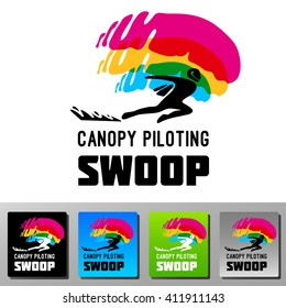 Swoop canopy piloting skydive vector logo. Colorful icon flat style. Silhouette of a winged man speed landing.