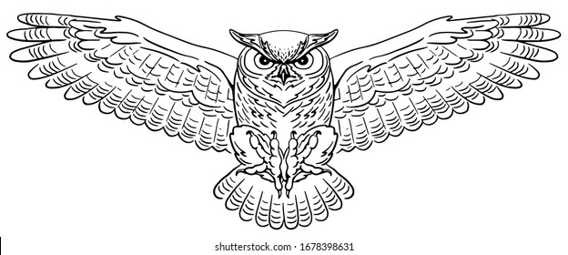 Swooping Great Horned Owl. Hand-drawn vector illustration. Line art.