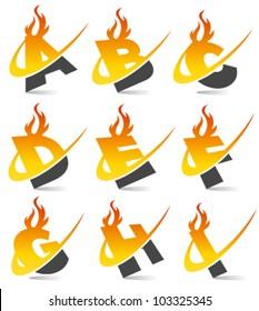 Swoosh flame alphabet set 1