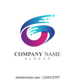swoosh letter g logo template