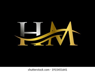 Swoosh Letter HM Logo Design for business and company identity. Water Wave HM Logo with modern trendy