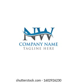 Swoosh Letter NW Logo Design Vector Template. NW Letter Logo Design