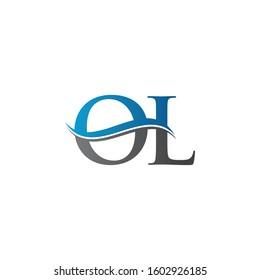 Swoosh Letter OL Logo Design Vector Template. OL Letter Logo Design