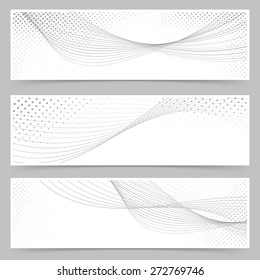 Swoosh line halftone web header collection dotted layout. Vector illustration