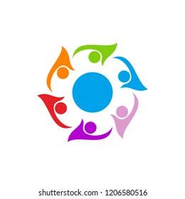 swoosh people united logo vector