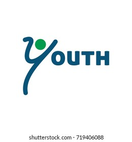 swoosh person logo vector. youth vector logo.