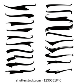 Swoosh and swash text tails vector set. Font tail for baseball sport logo design. Swoosh, Swash, Swish, Swirl vector element, Set of Typography Tail