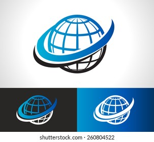 Swoosh world logo icon with swoosh graphic element