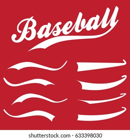 Swooshes, underline elements for sports design, typography, font. Baseball retro hand drawn swishes. Vector