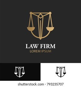 Sword with balance. Law Office Icon. Lawyer Services. Law Firm Logo vector template.