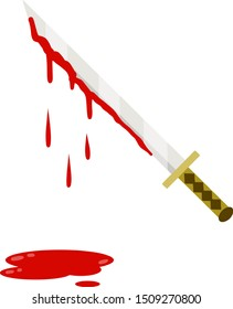 Sword with blood. Medieval weapons knight and soldier. Element warrior. Inflicting wounds, injuries and cuts. Drop of red fluid and bleeding. Symbol of murder. Japanese katana. Cartoon flat picture