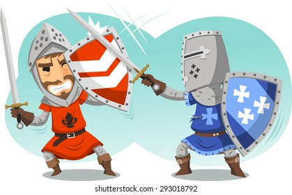 Sword Fighting Knights in full Armor cartoon illustration cartoon.
