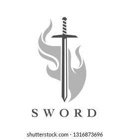 Sword with flame logo template. Professional weapon icon isolated on white background. Vector illustration.