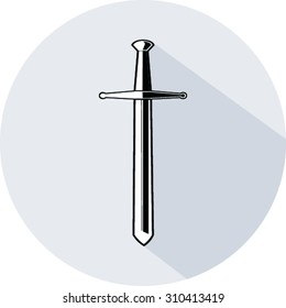 Sword flat icon with long shadow