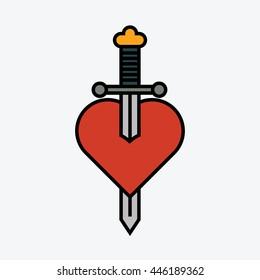 Sword in heart.
