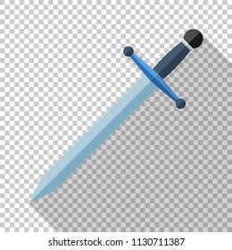 Sword icon in flat style with long shadow on transparent background