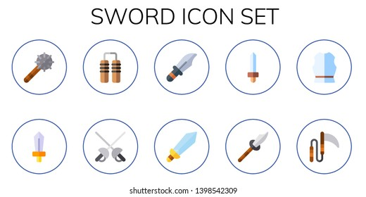 sword icon set. 10 flat sword icons.  Simple modern icons about  - weapon, nunchaku, dagger, armour