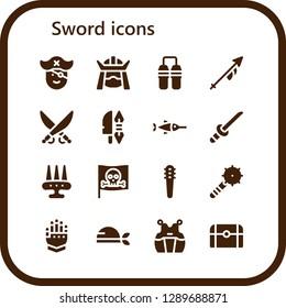 sword icon set. 16 filled sword icons. Simple modern icons about  - Pirate, Samurai, Nunchaku, Lance, Saber, Weapon, Swordfish, Katana, Weapons, Gauntlet, Kendo, Treasure