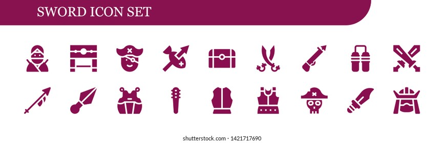 sword icon set. 18 filled sword icons.  Simple modern icons about  - Ninja, Pillory, Pirate, Spear, Treasure, Sabers, Nunchaku, Swords, Lance, Kunai, Kendo, Weapons, Armour, Dagger