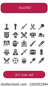 sword icon set. 25 filled sword icons. Simple modern icons about  - Excalibur, Spear, Sword, Sabers, Weapon, Jolly roger, Pirate, Swords, Ninja, Saber, Treasure, Gnosticism, Gauntlet