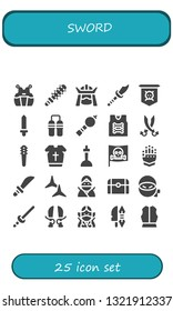 sword icon set. 25 filled sword icons.  Simple modern icons about  - Kendo, Mace, Samurai, Weapon, Jolly roger, Sword, Nunchaku, Bladder pipe, Armor, Sabers, Weapons, Armour, Excalibur