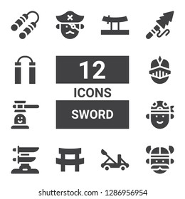 sword icon set. Collection of 12 filled sword icons included Viking, Catapult, Katana, Pirate, Hammer game, Knight, Harpoon, Nunchaku