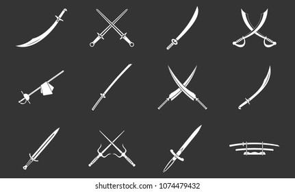 Sword icon set vector white isolated on grey background