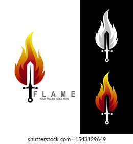 Sword logo, Flaming sword with a red flame. Magical fantasy blade. Element of computer game