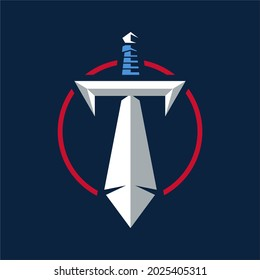 sword logo for titans , simple and clean