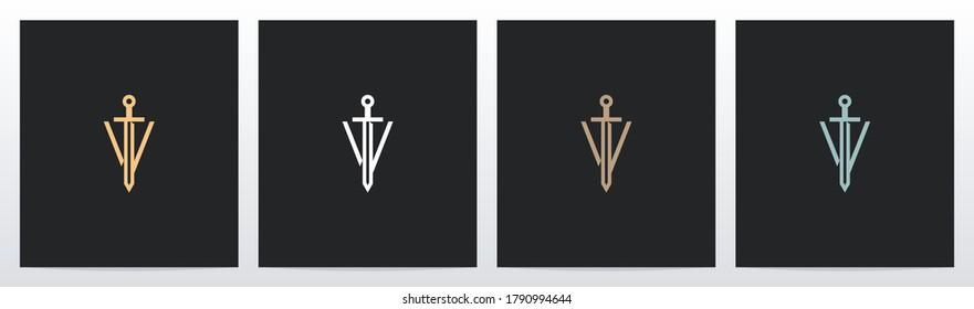 Sword On Letter Logo Design V