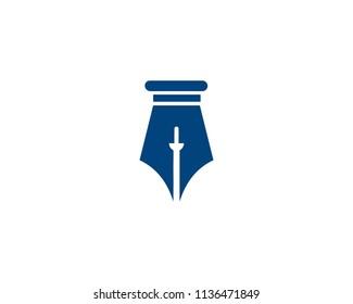Sword and pen illustration logo
