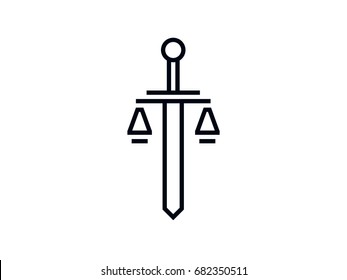 the sword and scales of justice Themis. the logo or icon