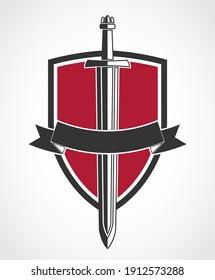 sword and shield elegant red black logo