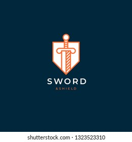 Sword and shield logo design. Linear style logotype. Great template for law firm, legal, advocate, lawyer, justice, security.