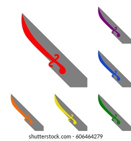 Sword sign illustration. Set of red, orange, yellow, green, blue and violet icons at white background with flat shadow.