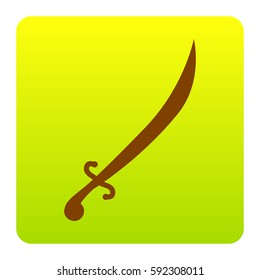 Sword sign illustration. Vector. Brown icon at green-yellow gradient square with rounded corners on white background. Isolated.