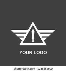 sword triangle wings logo. military black and white template design. silhouette vector