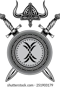 Sword Viking helmet and shield