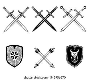 sword weapon shield arrow viking set