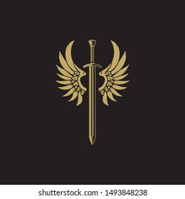 Sword with Wings. Golden Sword Symbol on Black Background.
