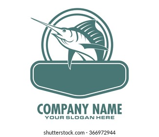 swordfish marlin fish logo animal wildlife aquatic fishing vector