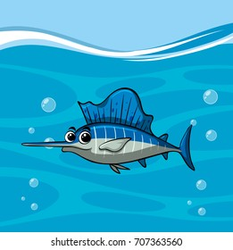 Swordfish swims in the ocean illustration