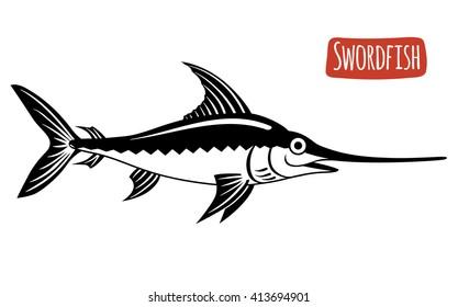 Swordfish, vector illustration, cartoon style